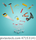 3d rendering of a shopping cart standing on the floor and various DIY supplies scattering in all 47153141