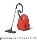 3d rendering of red electric vacuum cleaner isolated on white background 47153148