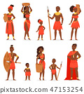 African people vector black man beautiful woman character in traditional tribal clothing dress in 47153254