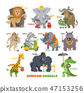 African animals vector cartoon wild animalistic characters lion king elephant fireman security 47153256