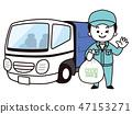 남성 쓰레기 청소부와 쓰레기 트럭 47153271