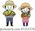 농가의 남녀와 수확물 47153778