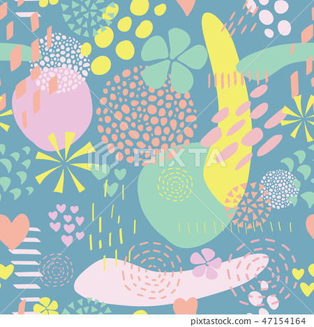 Seamless Abstract shapes vector background collage 47154164