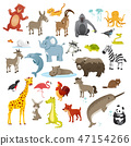 Cartoon animals collection, vector illustration 47154266