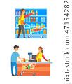 Supermarket Cashier and Merchandiser Set Vector 47154282