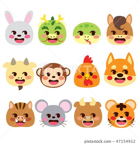 Chinese Zodiac Signs Emoji Animals 47154912