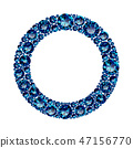 Round frame made of realistic blue amethysts with complex cuts 47156770