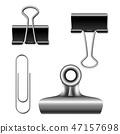 Paper binder clips 3D illustration 47157698