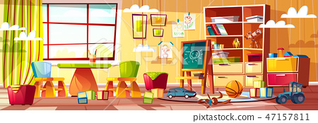 cartoon kindergarten for children, playground room 47157811