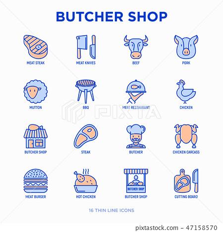 Butcher shop thin line icons set 47158570