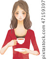 一個女人喝茶 47159397