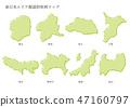 แผนที่จังหวัดในพื้นที่ภาคตะวันออกของญี่ปุ่น 47160797