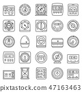 Time measure icon set, outline style 47163463