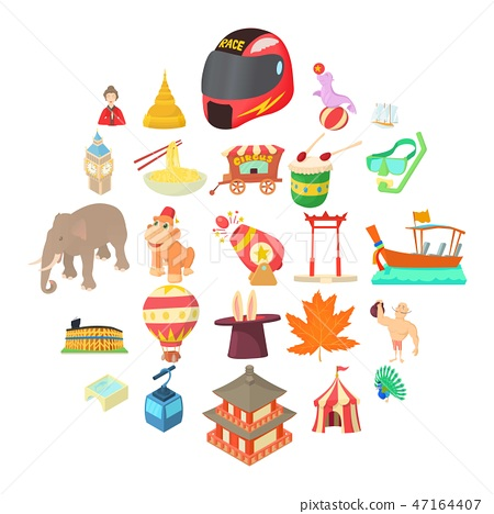 Cheerful attraction icons set, cartoon style 47164407