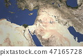Route of a commercial plane flying to Amman, Jordan on the map, 3D rendering  47165728