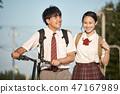 上学的高中学生夫妇 47167989