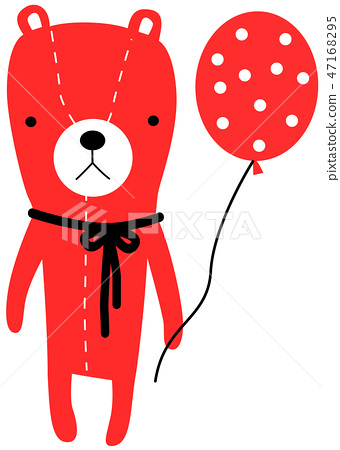 Cute, bear, bear, bear, red balloon 47168295
