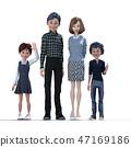 好朋友家庭4父母和孩子perming3DCG插圖素材 47169186