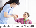 Health visitor and senior woman during home visit. 47170085