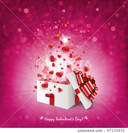 Pink shiny composition with the silhouette of a white box with a lot of hearts. 47170435
