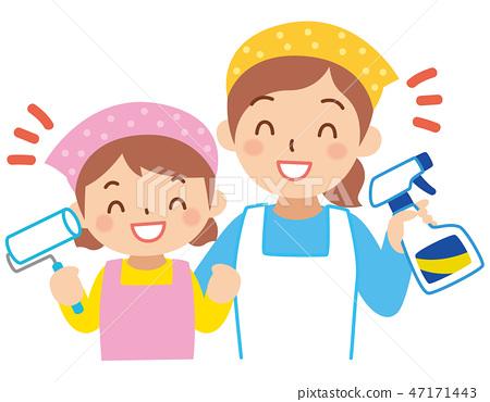청소를하는 엄마와 소녀 47171443