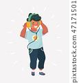 Funny boy cartoon listening music. 47171501