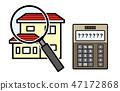 房屋評估,估計的例證(房子和放大鏡和計算器) 47172868