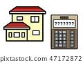 家庭保險,抵押貸款,生活費用的插圖(房子和計算器) 47172872
