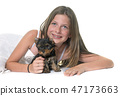 young yorkshire terrier and child 47173663