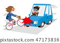 자전거와 자동차의 충돌 사고 47173836