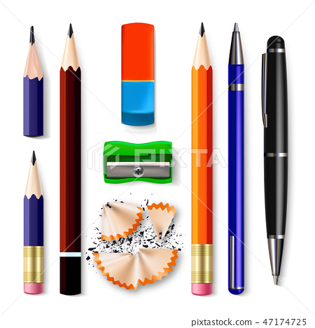 Pen, Pencil Stationery Set Vector. Sharpened. Classic Rubber, Without, Graphite. Wood, Plastic And 47174725