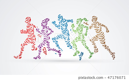 Marathon runners, Group of people running graphic 47176071