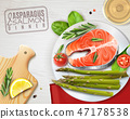 Asparagus Salmon Dish Realistic Image  47178538