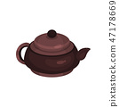 Brown ceramic teapot, tea ceremony element cartoon vector Illustration 47178669