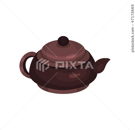 Brown ceramic teapot, tea ceremony element cartoon vector Illustration 47178669