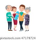 Happy big family portrait cartoon vector Illustration 47178724