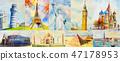 Landmark travel around the world and sights. 47178953