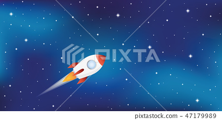 rocket ship in starry space 47179989