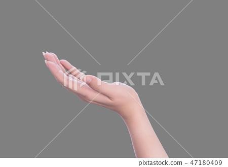 女手寶石手指上背部灰色背景 47180409