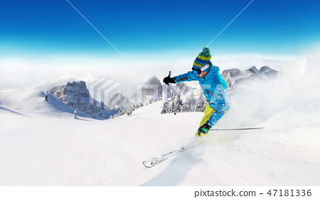 Young man skiing in Alps 47181336