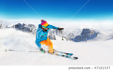 Young man skiing in Alps 47181337