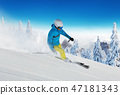 Young man skiing in Alps 47181343