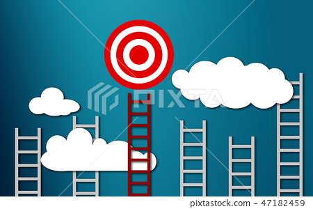 Long red ladder to goal target business concept 47182459