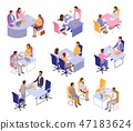Interview vector interviewee or interviewer people on business meeting and in office illustration 47183624