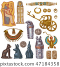 Egyptian vector ancient sarcophagus pharaoh jewelry sphinx cat statue of Egypt culture historical 47184358