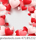 Valentines day abstract background. White, red, pink 3d heart. February 14, love. Romantic wedding 47185232
