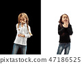 The studio shot of girl is blowing her nose 47186525