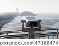 天文台望遠鏡。天文台雙筒望遠鏡。旅遊望遠鏡。 47188474