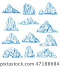 Icebergs sketch or hand drawn mountains. 47188684