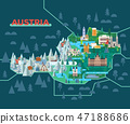 Travel map with landmarks of Austria. 47188686